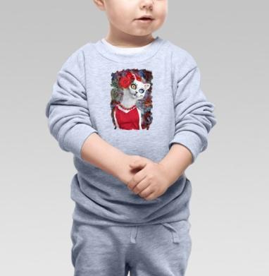 Белая кошка ко дню мертвых - Купить детские свитшоты с кошками в Москве, цена детских свитшотов с кошками  с прикольными принтами - магазин дизайнерской одежды MaryJane