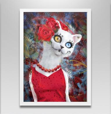 Белая кошка ко дню мертвых - Постер в белой раме, кошка