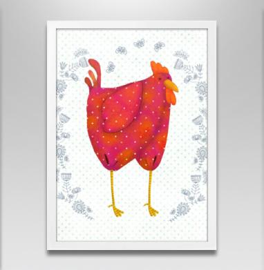 Красный петух - Постер в белой раме