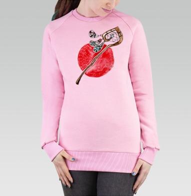 Cвитшот женский, толстовка без капюшона розовый - Посох