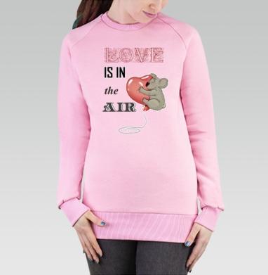 Cвитшот женский, толстовка без капюшона розовый - Любовь в воздухе