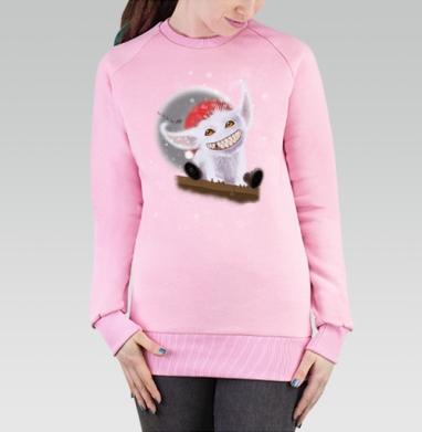 Cвитшот женский розовый  320гр, стандарт - Милый Зубастик зимой