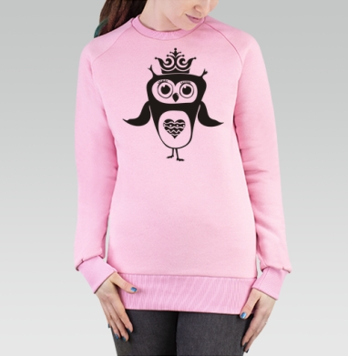 Cвитшот женский розовый  320гр, стандарт - Сова-принцесса