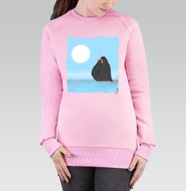 Cвитшот женский розовый  320гр, стандарт - Влюбленные пингвины