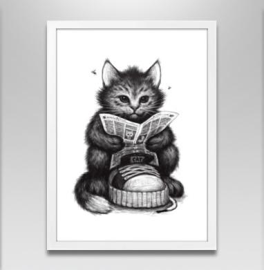 Кот в ботинке - Постер в белой раме
