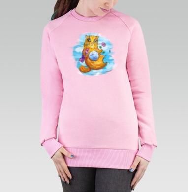 Cвитшот женский розовый  320гр, начес - котейка