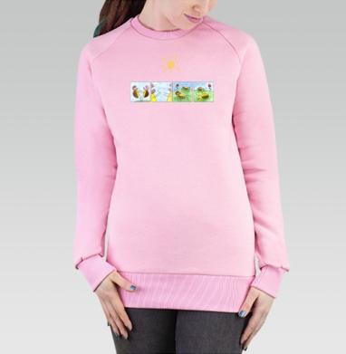 Cвитшот женский, толстовка без капюшона розовый - Черепахи