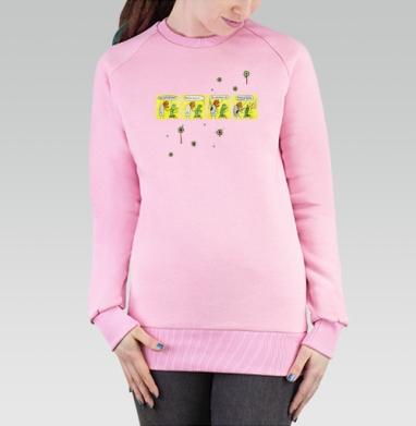 Cвитшот женский, толстовка без капюшона розовый - Зомби