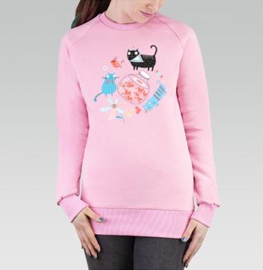 Cвитшот женский, толстовка без капюшона розовый - Влюблённые коты и сердца