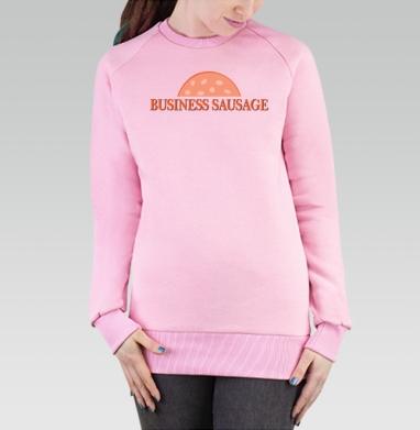 Cвитшот женский розовый  320гр, начес - Деловая колбаса
