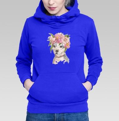 Толстовка Женская синяя - Собака в цветах