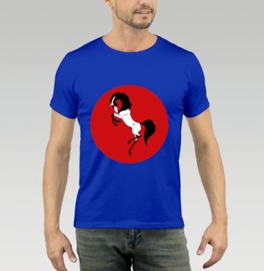 Футболка мужская синяя - Японский журавль