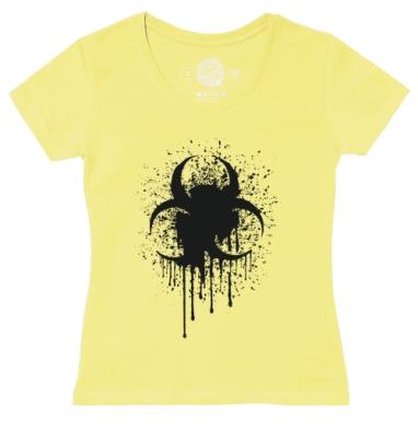 Футболка женская желтая - Знак биологической опасности