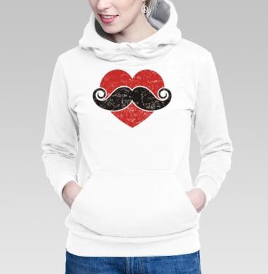 Толстовка Женская белая - Люблю усы