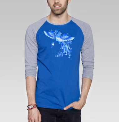 Синяя птица удачи в стиле гжельской росписи - Футболка мужская с длинным рукавом синий / серый меланж, этно, Популярные