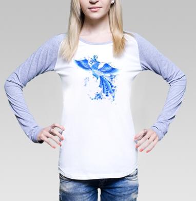 Синяя птица удачи в стиле гжельской росписи, Футболка лонгслив женская бело-серая