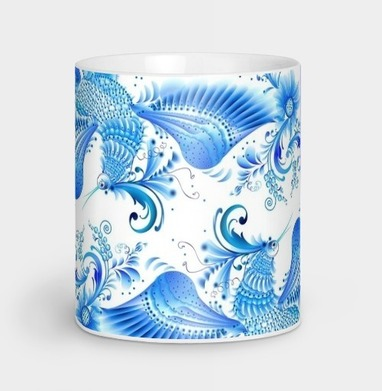 Синяя птица удачи в стиле гжельской росписи, Кружка