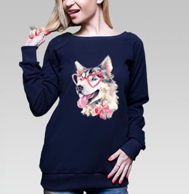 Cвитшот жен. тёмно-синий  320гр, стандарт - Модная собака