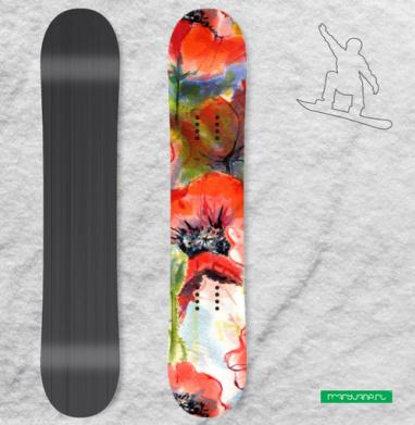 Маковая фантазия - Наклейки на доски - сноуборд, скейтборд, лыжи, кайтсерфинг, вэйк, серф