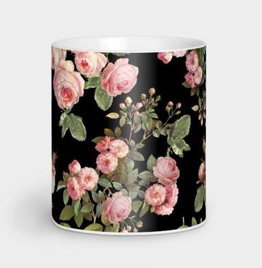 Розовые розы на черном фоне - розы, Новинки