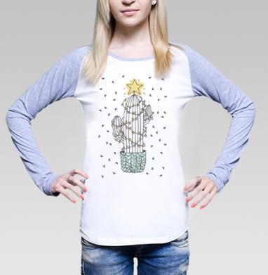 Новогодний кактус, Футболка лонгслив женская бело-серая