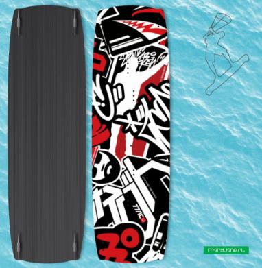 Чёрное красное белое - Наклейки на кайтсерфинг/вэйк
