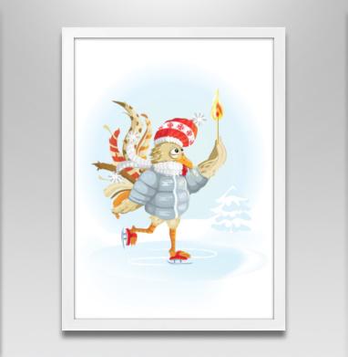 Огненный петух на коньках - Постеры, новый год, Популярные