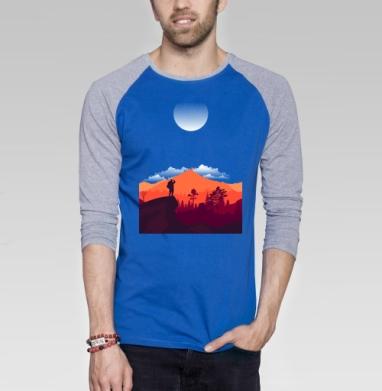 Турист - Футболка мужская с длинным рукавом синий / серый меланж, пейзаж, Популярные