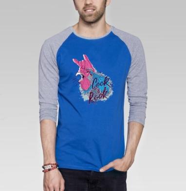 Петух графика - Футболка мужская с длинным рукавом синий / серый меланж, новый год, Популярные