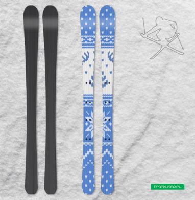Зимний свитер с оленями - Наклейки на лыжи