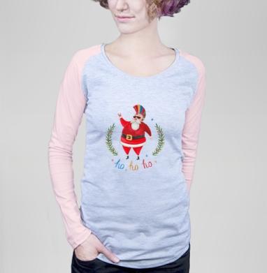 Какой год, такой и санта - Футболка женская с длинным рукавом серый меланж/розовая