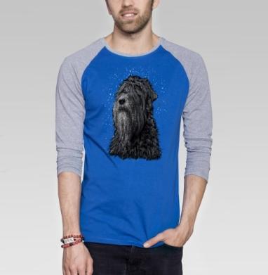 Русский черный терьер - Футболка мужская с длинным рукавом синий / серый меланж, собаки, Популярные