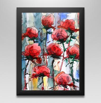 Розы - Постер в чёрной раме