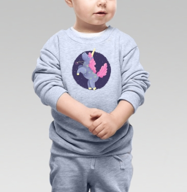 Ежевичный Единорог, Cвитшот Детский серый меланж