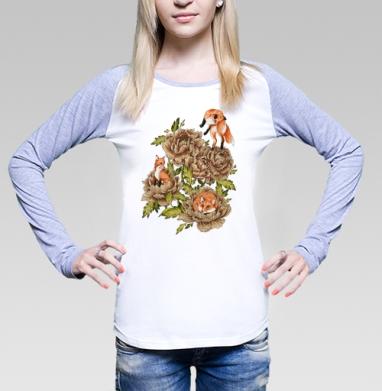 Цветочные лисы, Футболка женская с длинным рукавом бело-серая