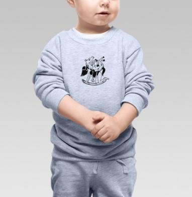 Шиворот навыворот - Задом наперед , Cвитшот Детский серый меланж