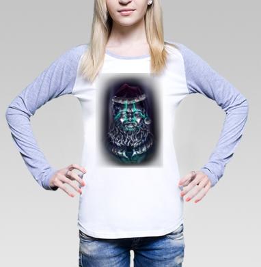 Цифровой Санта, Футболка женская с длинным рукавом бело-серая