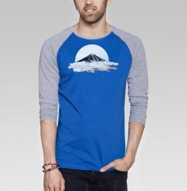 Вулкан в облаках - Футболка мужская с длинным рукавом синий / серый меланж, горы, Популярные
