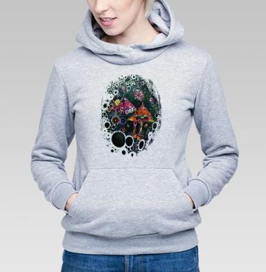 Грибница - Толстовка Женская серый меланж 340гр, теплый, психоделика, Популярные