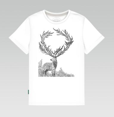 Винторогий олень - Детская футболка белая, Новинки