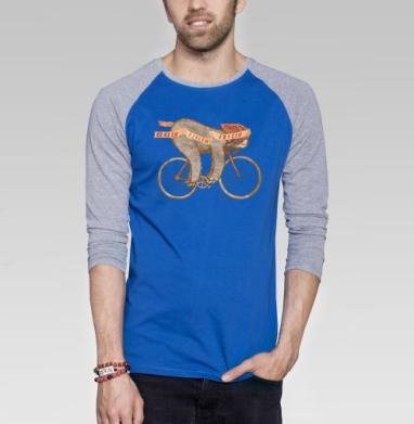ФИНИШ - Футболка мужская с длинным рукавом синий / серый меланж, велосипед, Популярные
