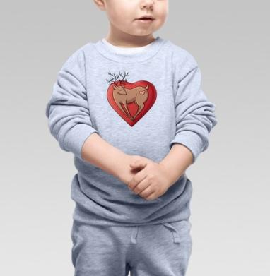 Олень любви, Cвитшот Детский серый меланж