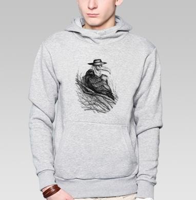 Ворона и доктор чума, Толстовка мужская, накладной карман серый меланж