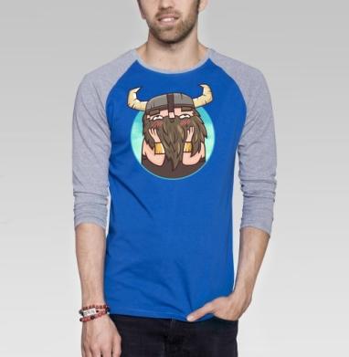 Застенчивый бородач - Футболка мужская с длинным рукавом синий / серый меланж, Улыбка