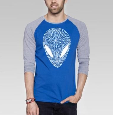 УФО БЛЭК - Футболка мужская с длинным рукавом синий / серый меланж, графика, Популярные