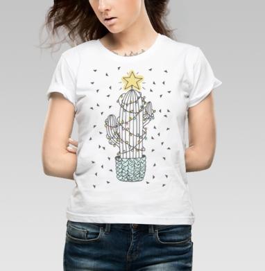 Новогодний кактус - Купить детские футболки с бородой в Москве, цена детских футболок с бородой  с прикольными принтами - магазин дизайнерской одежды MaryJane
