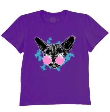 Футболка мужская темно-фиолетовая - Сфинкс в розовых очках