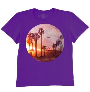 Футболка мужская темно-фиолетовая - Закат в Санта Монике