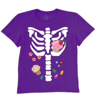 Футболка мужская темно-фиолетовая - Скелет сладкоежка