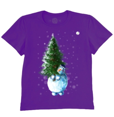 Футболка мужская темно-фиолетовая - Снеговик и ёлочка